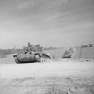 2 (Armd Recce) Bn, Welsh Guards, towards Escoville during Operation 'Goodwood', 18 July 1944; IWM B 7562
