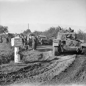 Cromwell tank & other vehicles of 2 Welsh Guards during the advance of Guards Armoured Division, 31 August 1944