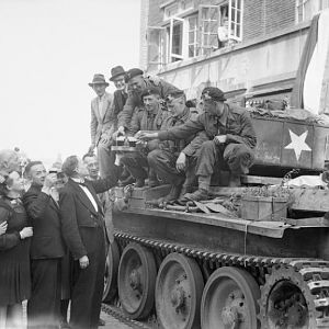Crew of a Cromwell tank 2nd Welsh Guards during the liberation of Eindhoven, 19 September 1944; IWM BU 939