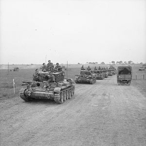 Cromwell tanks of 2nd (Armoured) Welsh Guards, Guards Armoured Division, south east of Caen, 19 July 1944; IWM B 7740