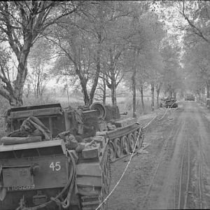 Knocked-out Cromwell tanks of the 2nd Welsh Guards, Guards Armoured Division, 28 April 1945; IWM BU 4672