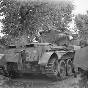 Knocked-out Cromwell tank of 2nd Welsh Guards, Hechtel, 10 September 1944.