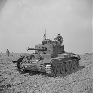 Cromwell Mk IV of No. 2 Sqn, 2 (Armd Recce) Bn, Welsh Guards, at Pickering Yorks, 31 March 1944; IWM H 37167