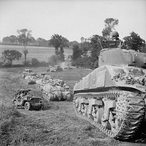Sherman tanks of 2nd Irish Guards, Guards Armoured Division, south of Caumont, 31 July 1944; IWM B 8277