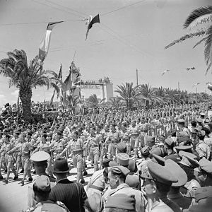 RAF Regiment march past the saluting dais in the Allied Victory Parade in Tunis; IWM NA 3020