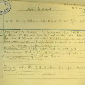September 1939 War Diary, 1 Guards Brigade Anti-Tank Company