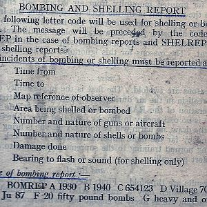 Bombing And Shelling report.