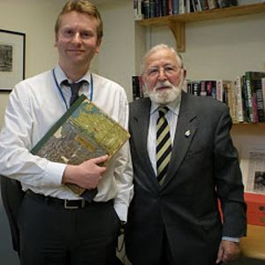 DSCN2780 Ron hands over Album To Archivist Anthony Richards RESIZED