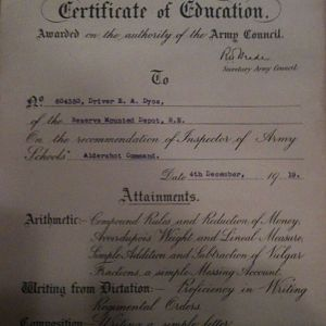 Army Certificate - Third Class - Sapper Edward Albert Dyos (1919)