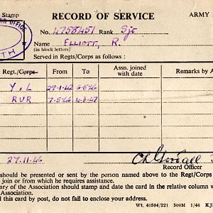 Reg Elliott 4758451   Document   6 York&Lancs  Record Of Service