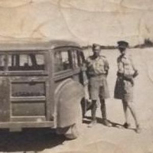 Rowland with the CO (Colonel Percival ?) and the trusty Staff Car