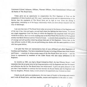 H.M. The Queen's Letter To The Royal Scots (The Royal Regiment)