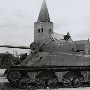 Knocked out Sherman Firefly (Rhinecrossing, March 28th, 1945)