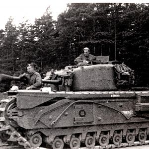 L/sgt Fred Higgin G.G. with  Churchill Tank.