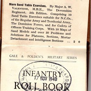 Roll Book No.1 Company, 9 Section, 9 Platoon, 4th Battalion Grenadier Guards.