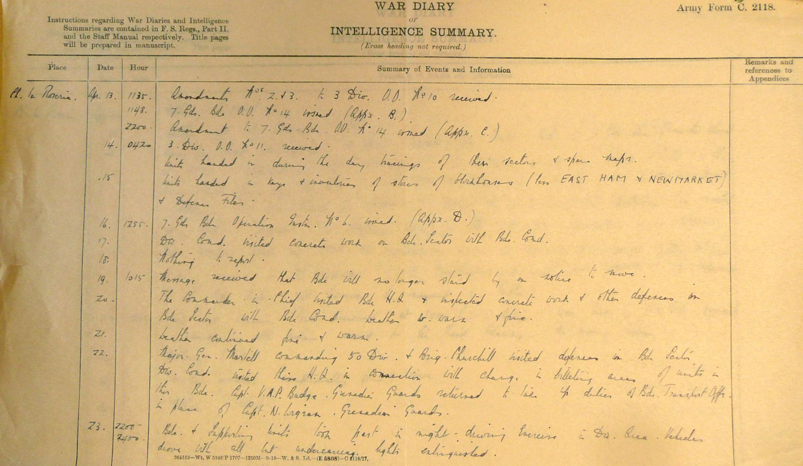 April 1940 War Diary, 7 Guards Brigade, Headquarters