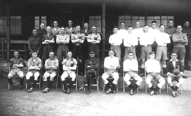 Cathel Sutherland Melville 3rd right fromt Row Pirbright Camp  team of army instructors (professional footballers)