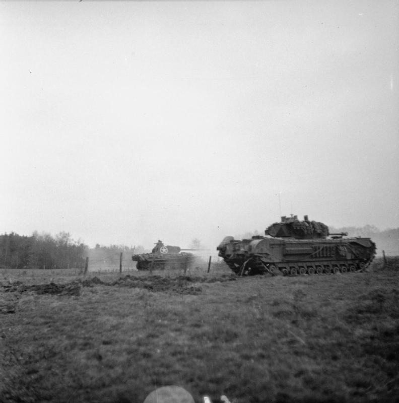 Churchill tank and behind a German Panther captured by 4th Coldstream Guards, Geijsteren castle on the banks of the Maas, 29 November 1944; IWM B 12184