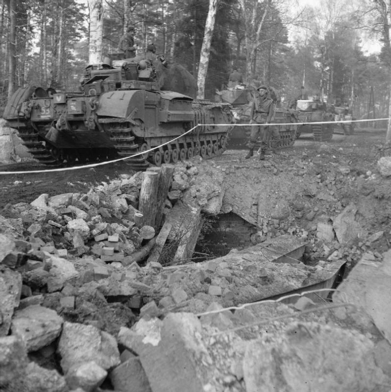 Churchill tanks of 3rd Scots Guards, 6th Guards Tank Brigade, advance towards Celle, 11 April 1945; IWM BU 3554