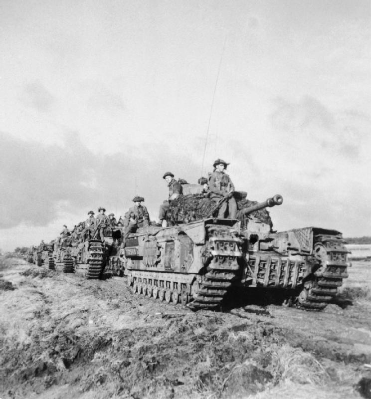 Churchill tanks of 3rd Scots Guards, 6th Guards Tank Brigade, with 2nd Argyll and Sutherland Highlanders, near Beringe, Holland, 22 November 1944; IWM B 12026