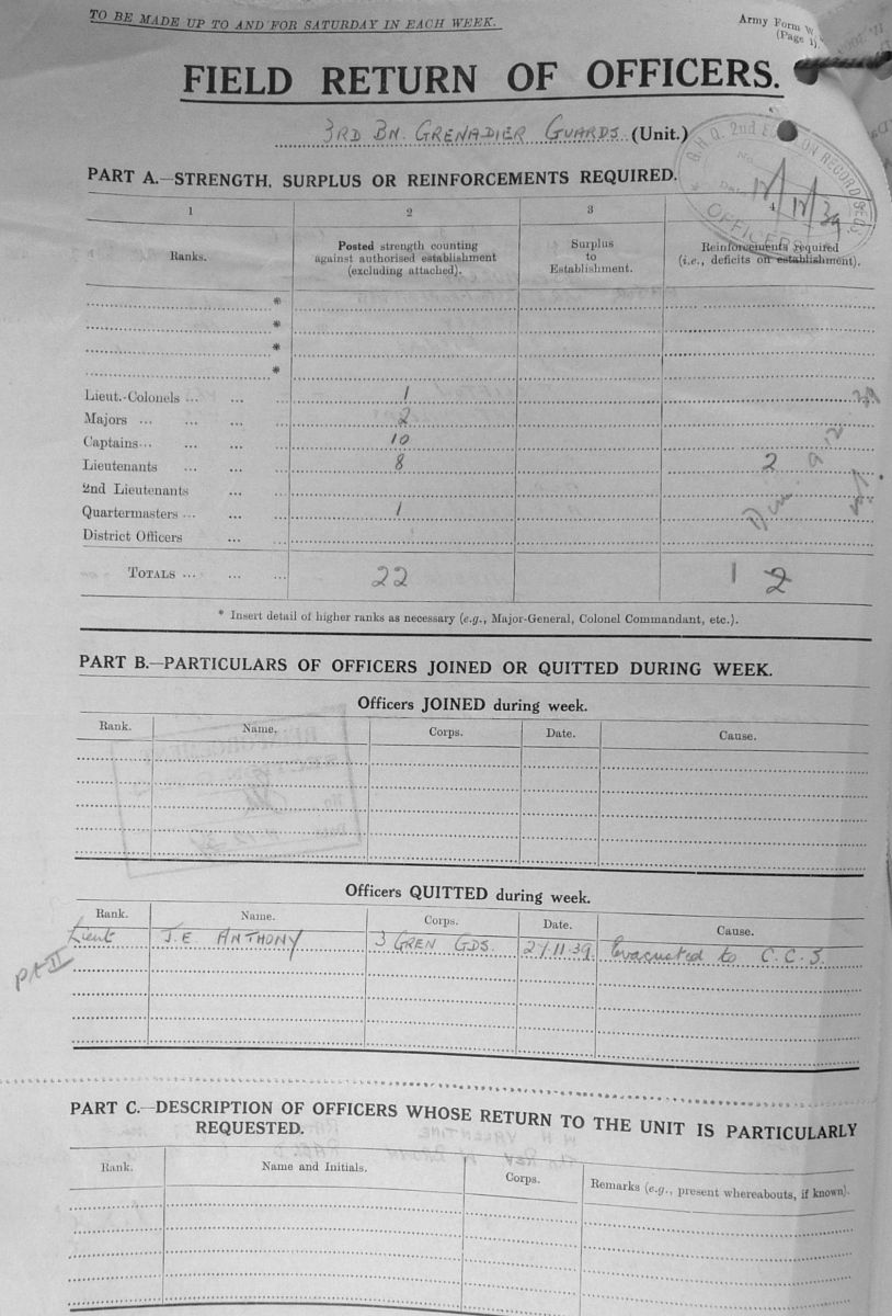 December 1939 War Diary, 3rd Battalion, Grenadier Guards