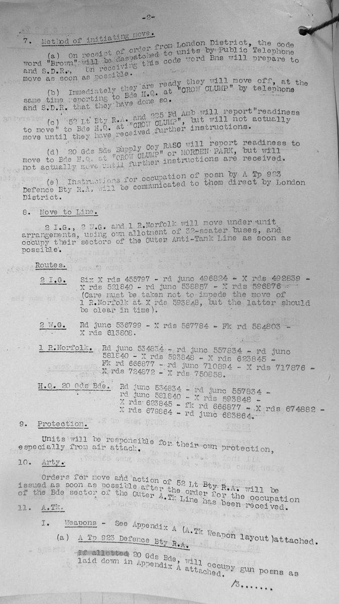 December 1940 War Diary, 20 Guards Brigade, Headquarters