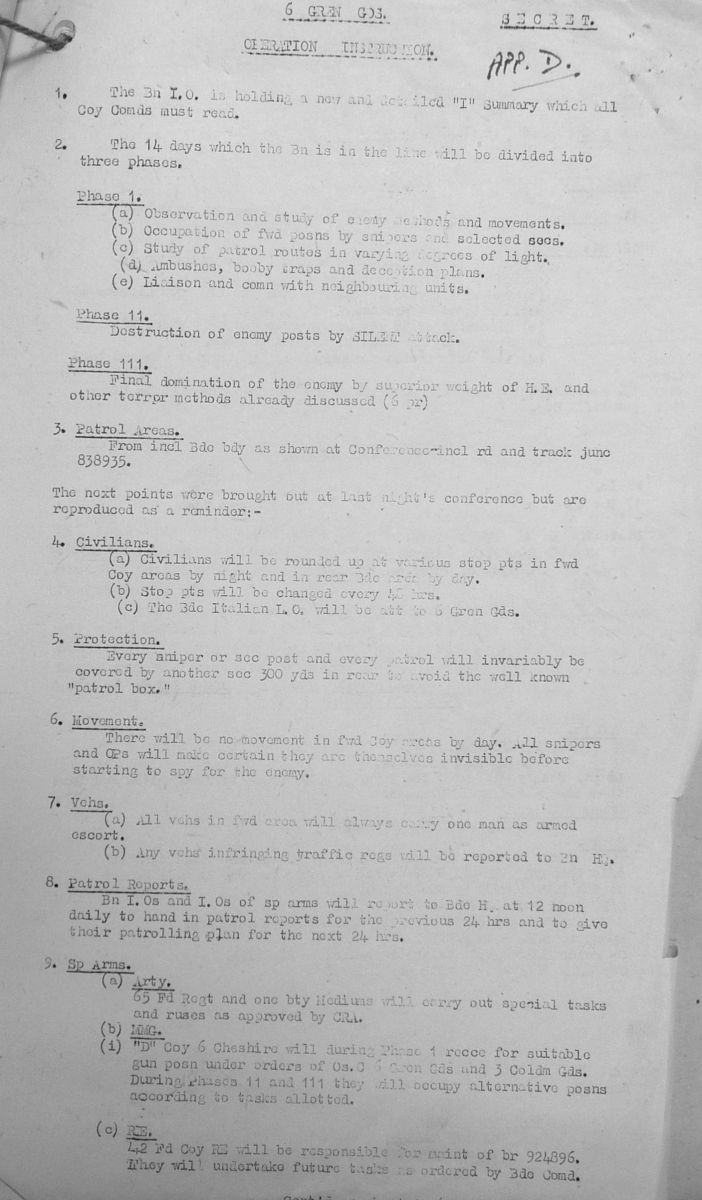 December War Diary, 6th Motor Battalion Grenadier Guards, 1943