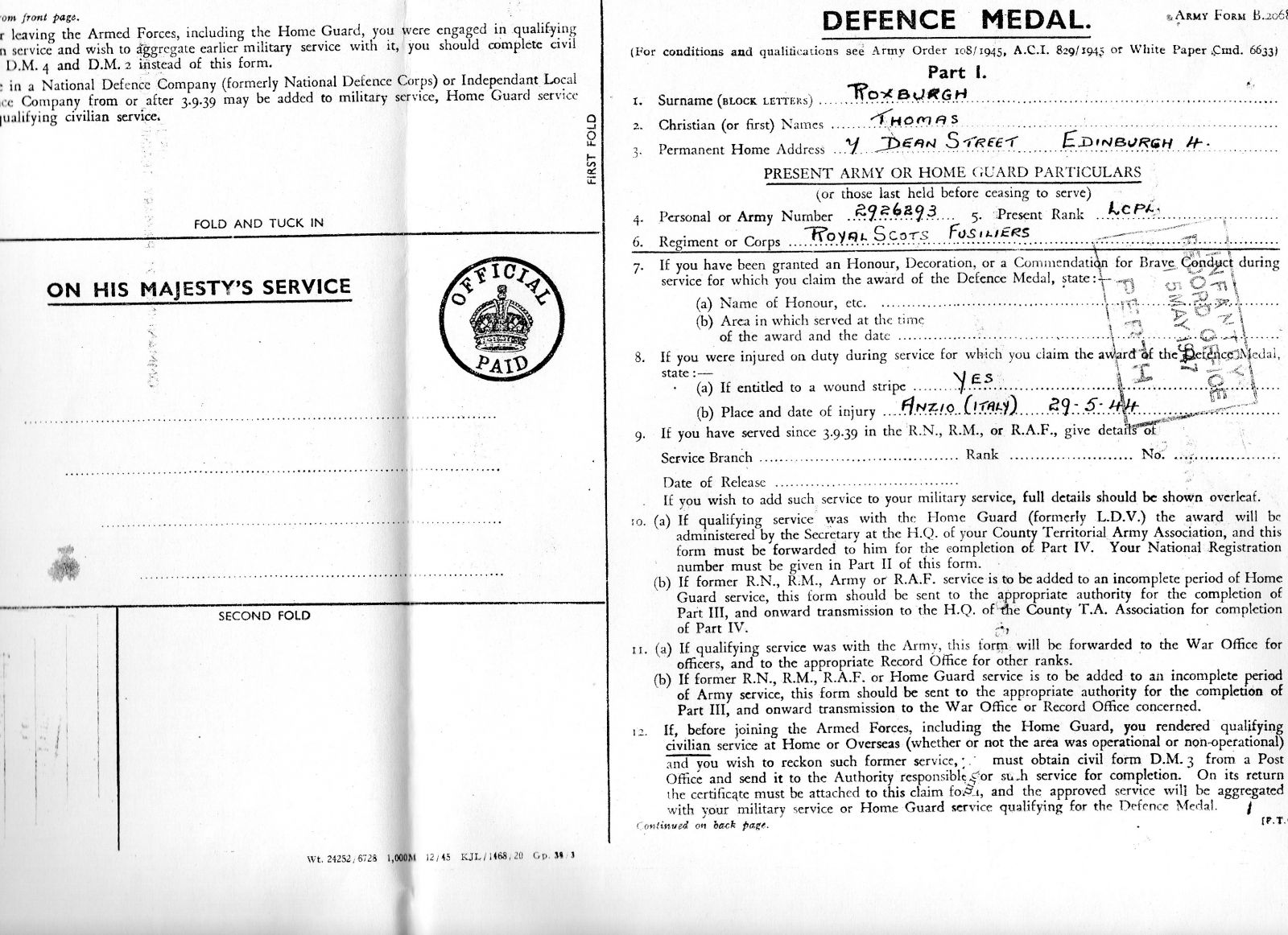 Defence Medal Entitlement