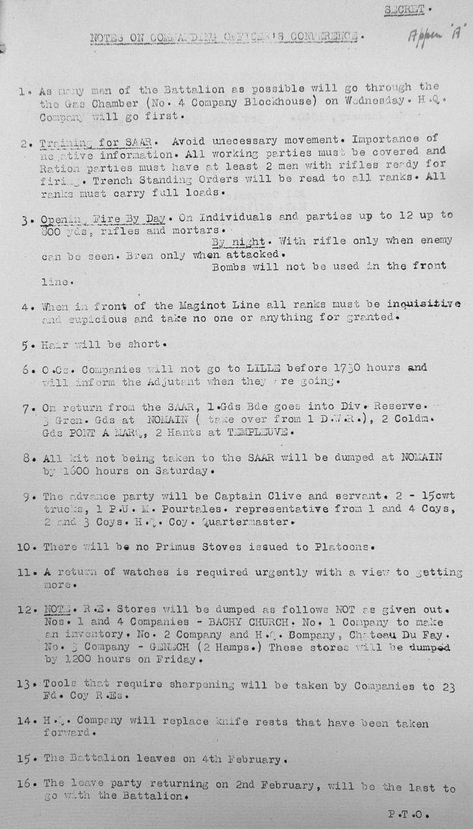 February 1940 War Diary, 3rd Battalion, Grenadier Guards