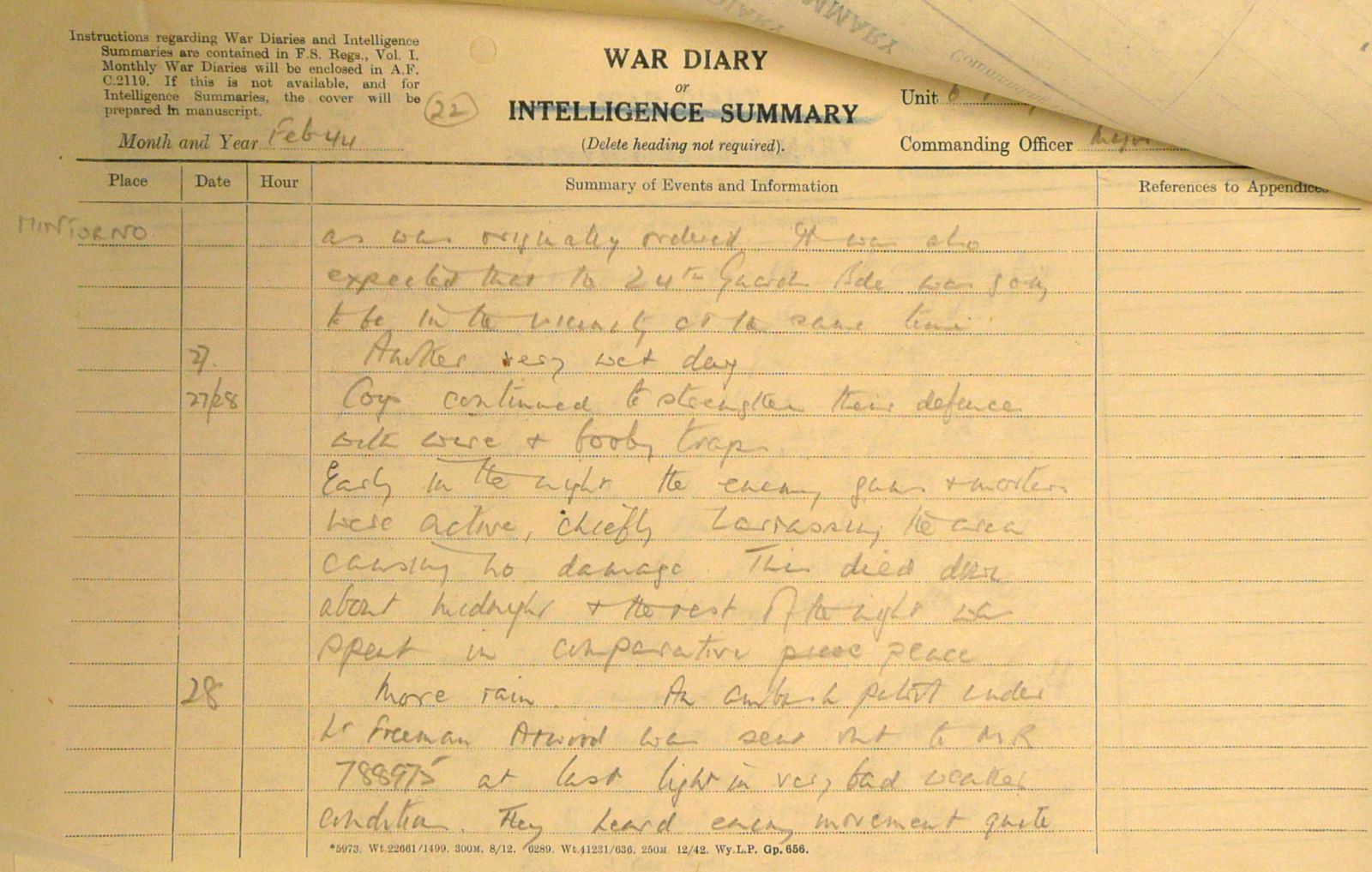 February War Diary, 6th Battalion, Grenadier Guards, Jan - Mar 1944