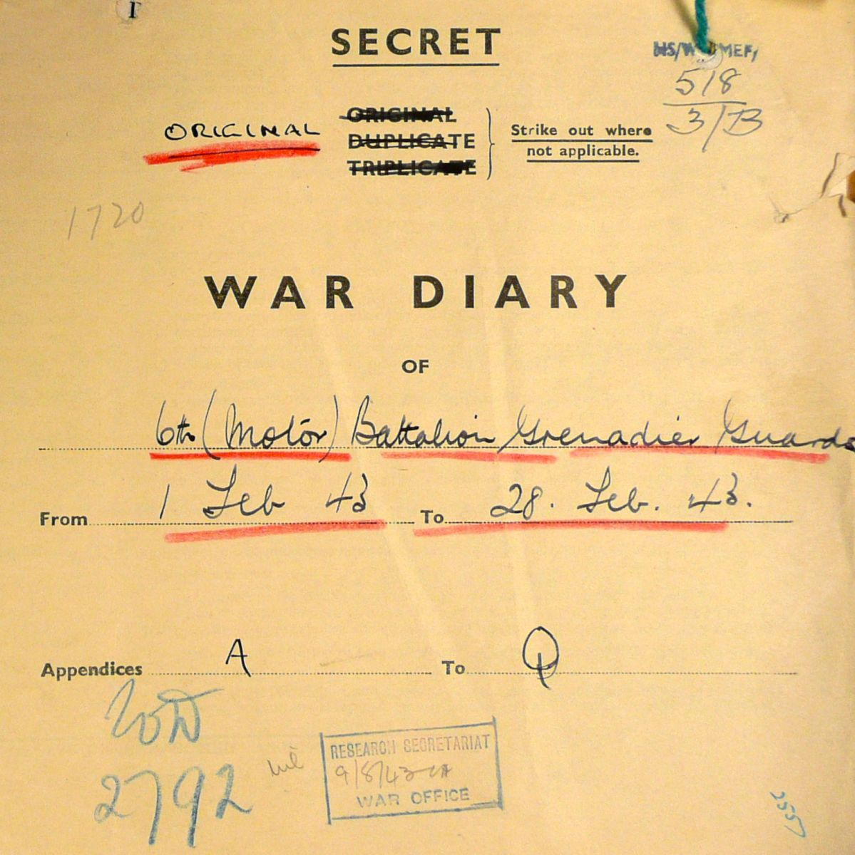 February War Diary, 6th Motor Battalion GRENADIER GUARDS, 1943