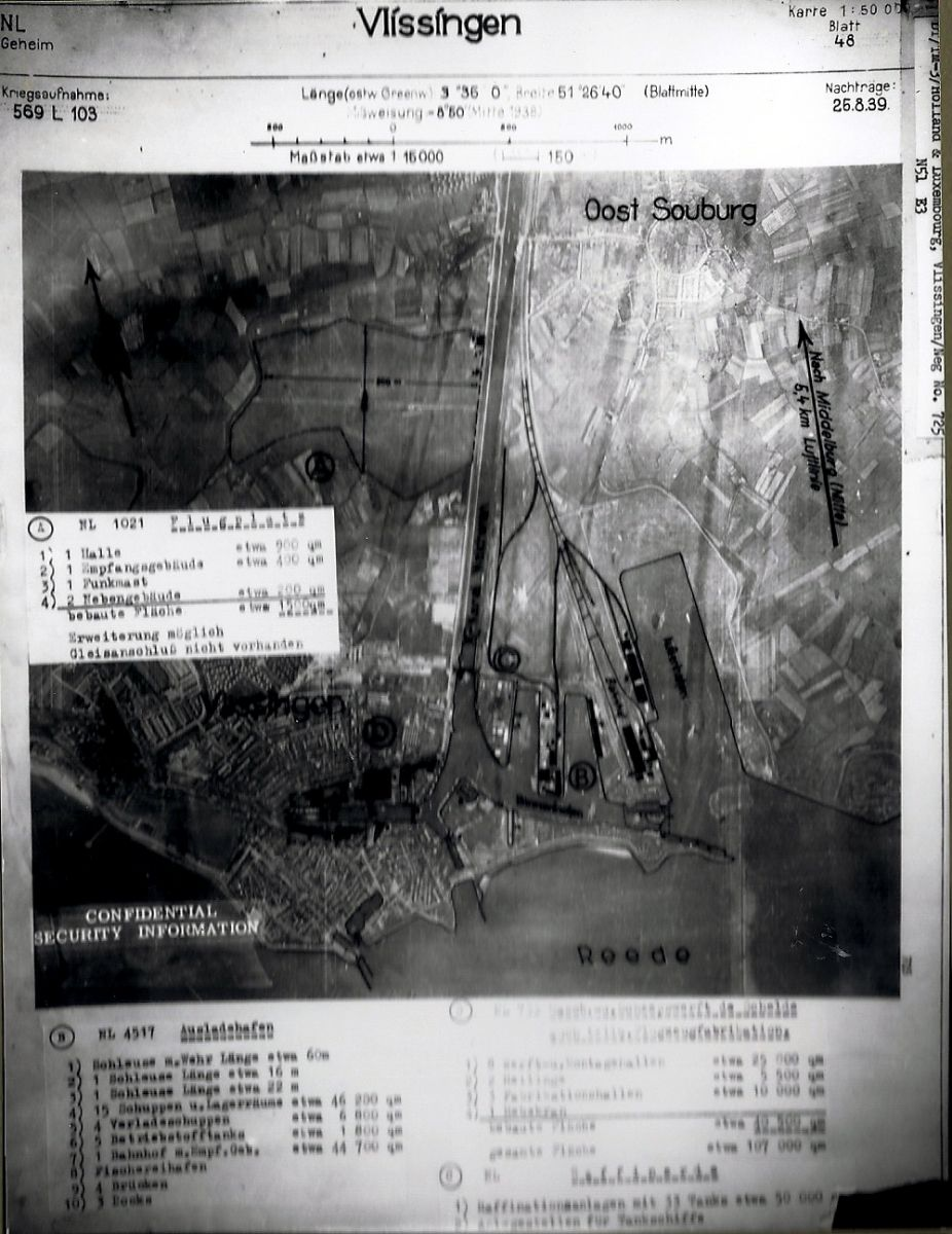 German Aerial Photograph Of Flushing, Walcheren, dated 25 August 1939.