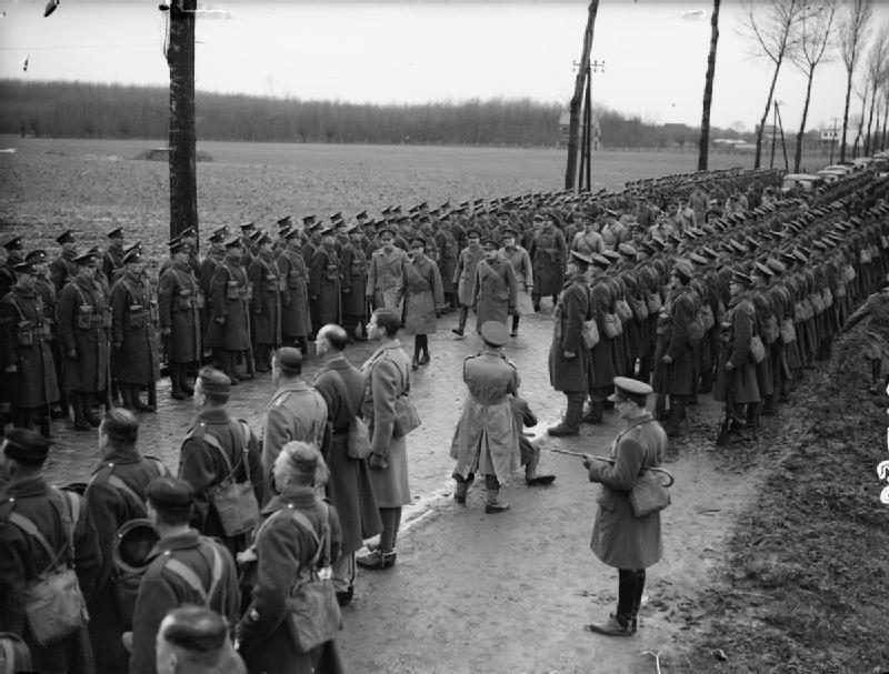 HM King George VI reviews the 2nd Battalion, Coldstream Guards at Bachy, December 1939; IWM O 1782