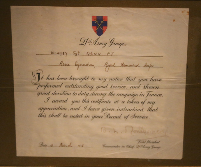 IWM  21st Army Group Citation Signed by Monty