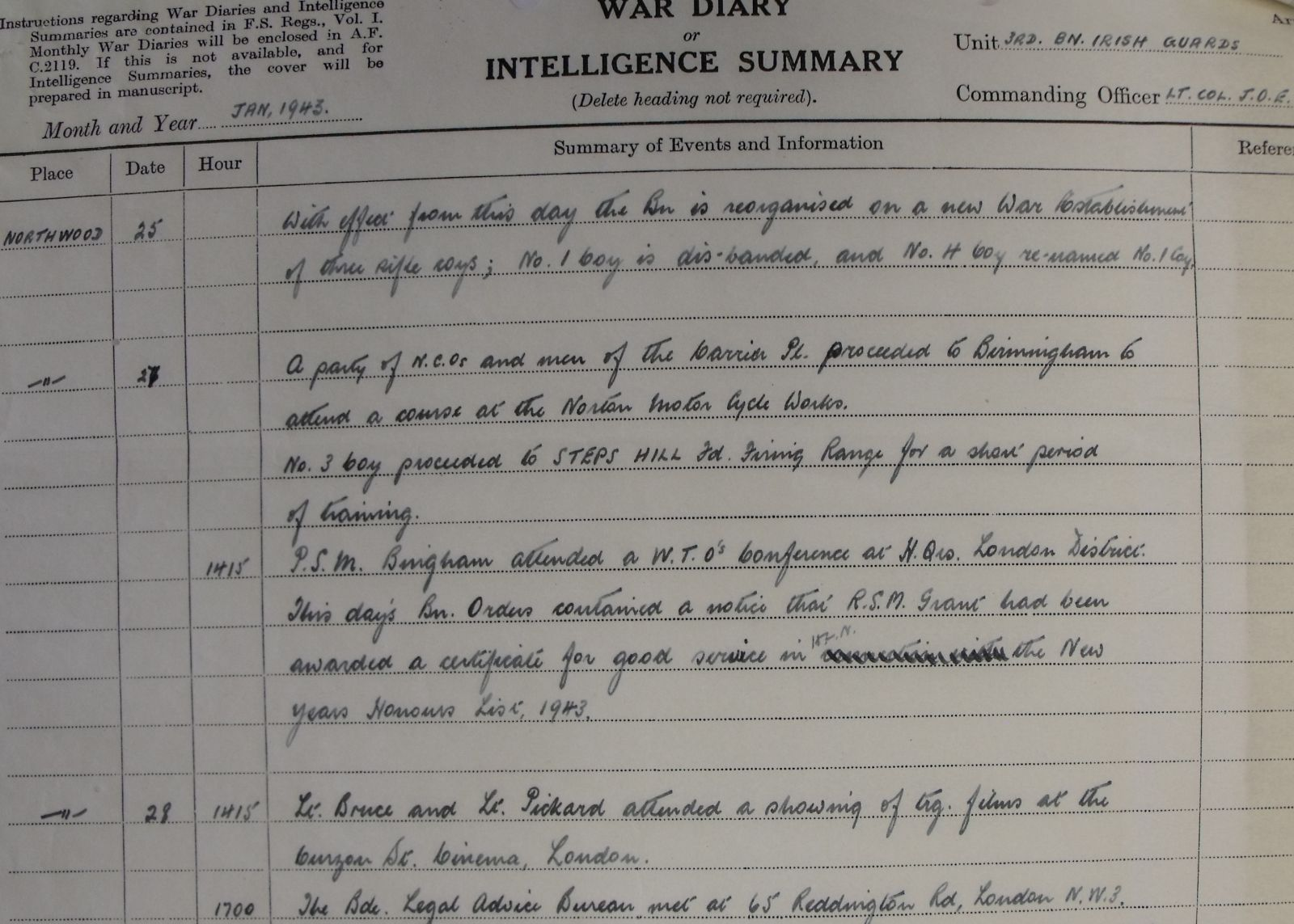 January War Diary, 3 Irish Guards, 1943