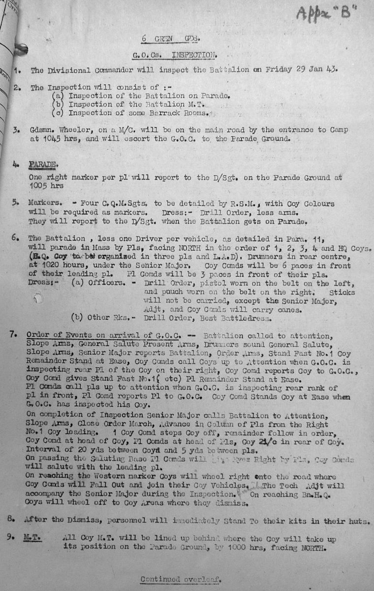 January War Diary, 6th Motor Battalion GRENADIER GUARDS, 1943