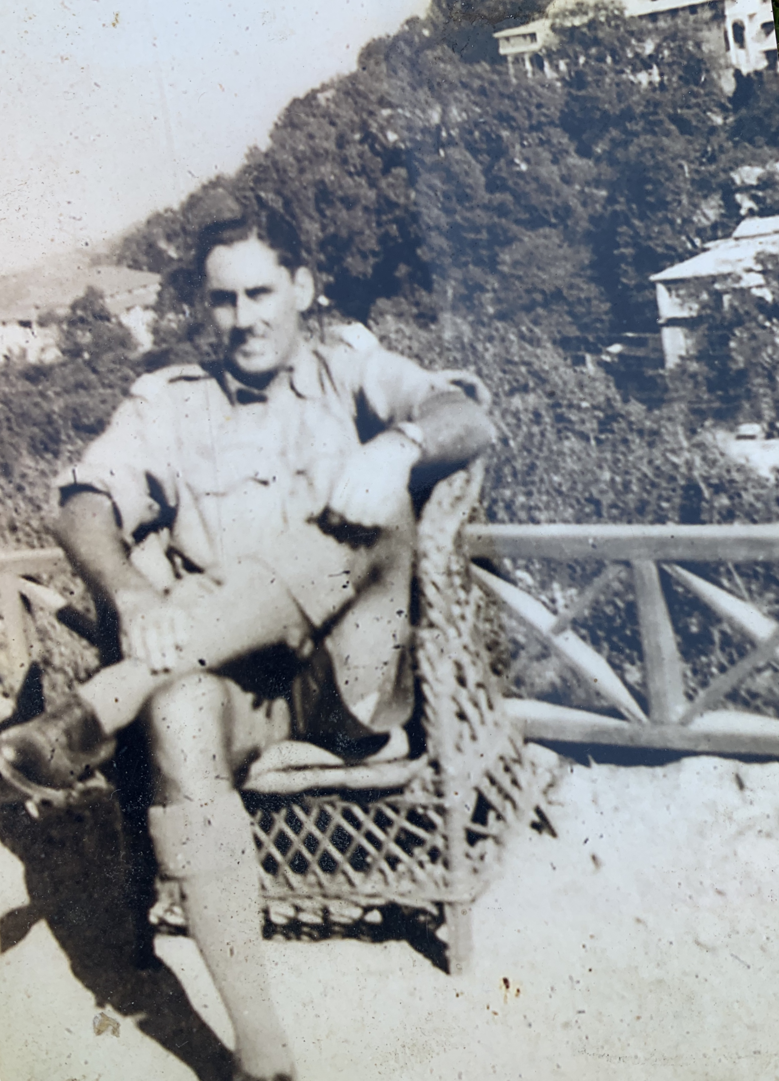 Lt Eric Miles 25th Dragoons outside Savoy Hotel,Mussoorie near Dehradun India 1942