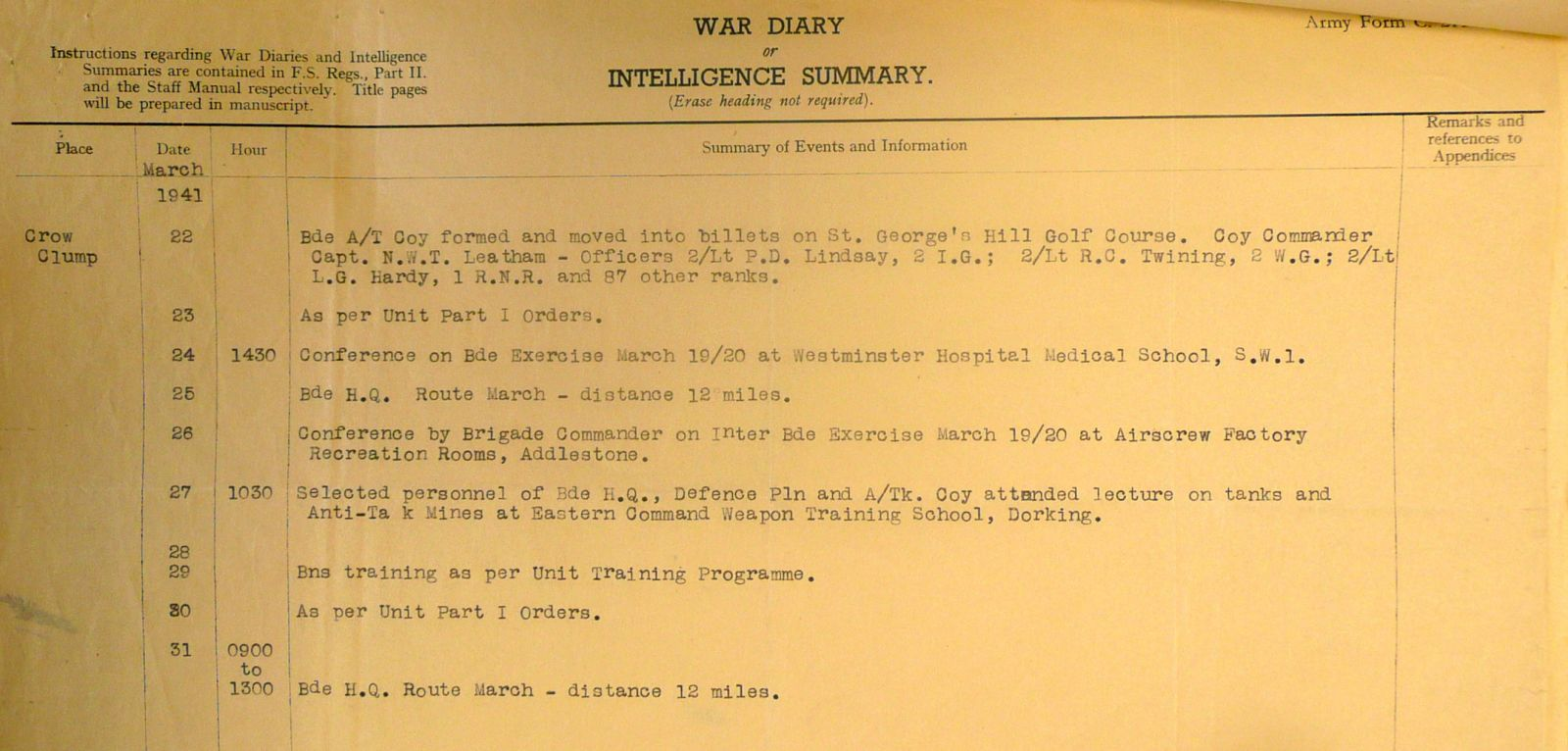 March 1941 War Diary, 20 Guards Brigade, Headquarters
