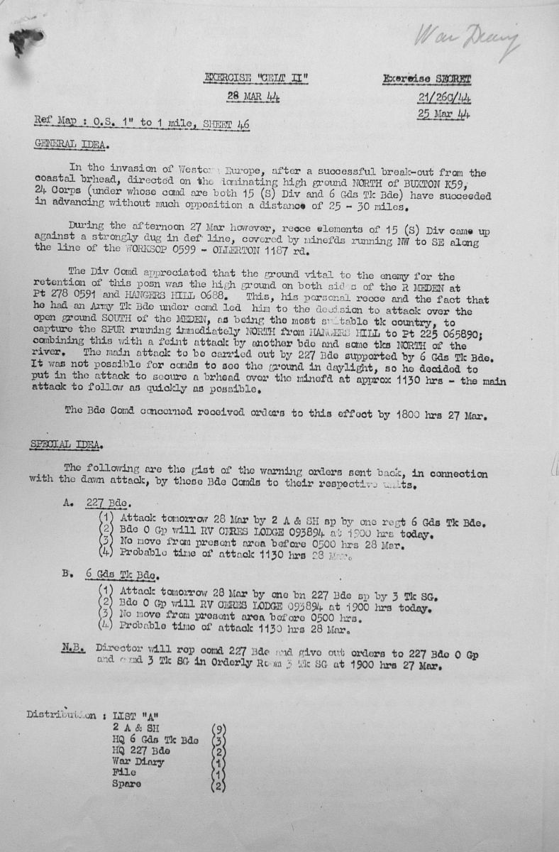 March Appendices, 3 Tank Battalion Scots Guards 1944