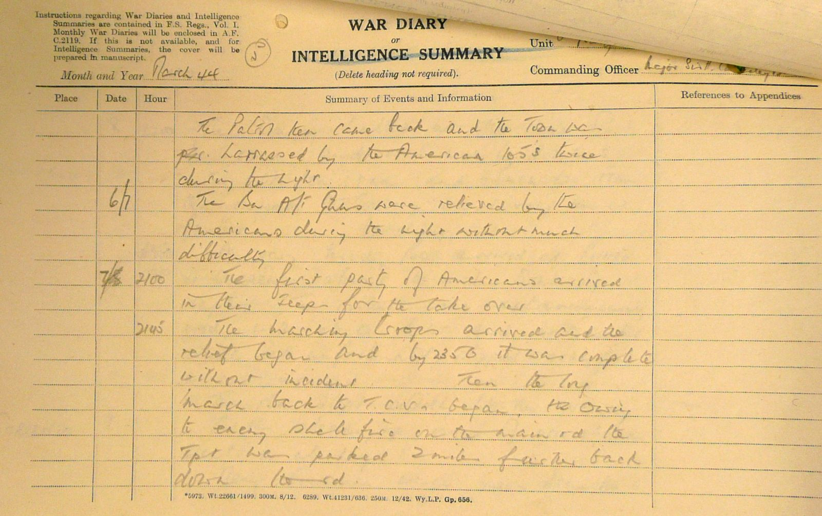 March War Diary, 6th Battalion, Grenadier Guards, Jan - Mar 1944