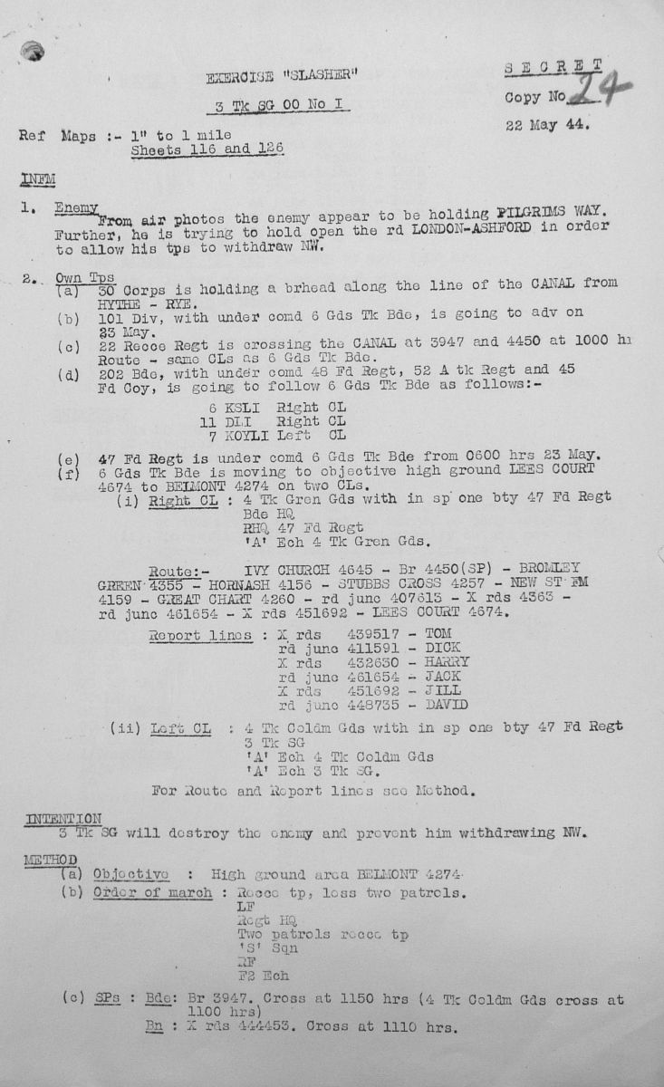 May Appendices, 3 Tank Battalion Scots Guards 1944
