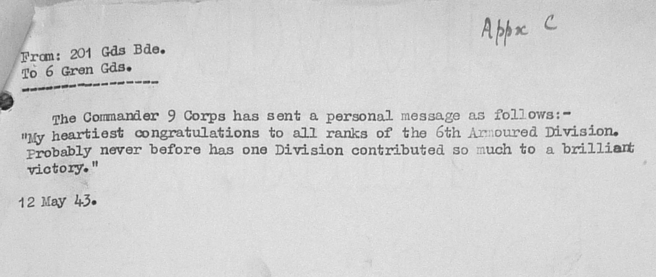 May War Diary, 6th Motor Battalion Grenadier Guards, 1943