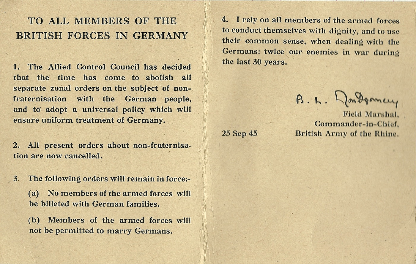 Memorabilia. Non Fraternisation. Germany 1945, pages 2, 3.