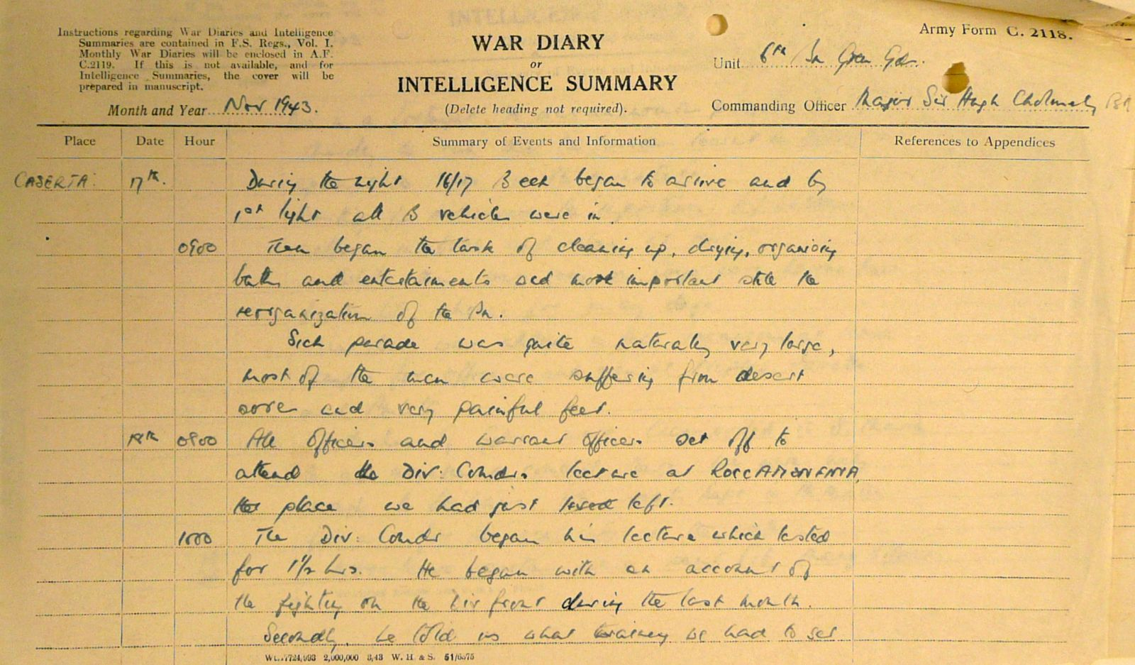 November War Diary, 6th Motor Battalion Grenadier Guards, 1943