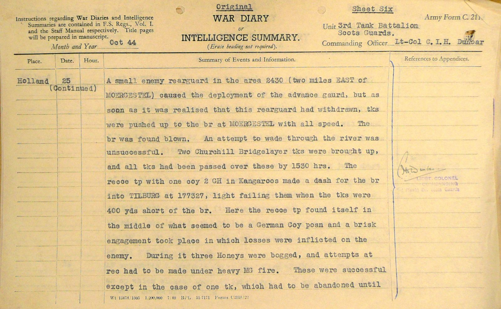 October War Diary, 3 Tank Battalion Scots Guards 1944