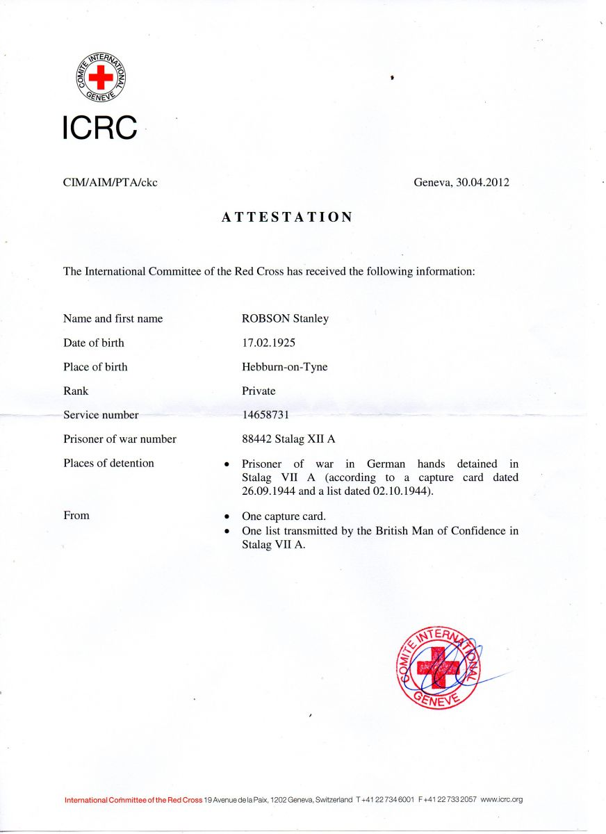 POW Details from ICRC Geneva