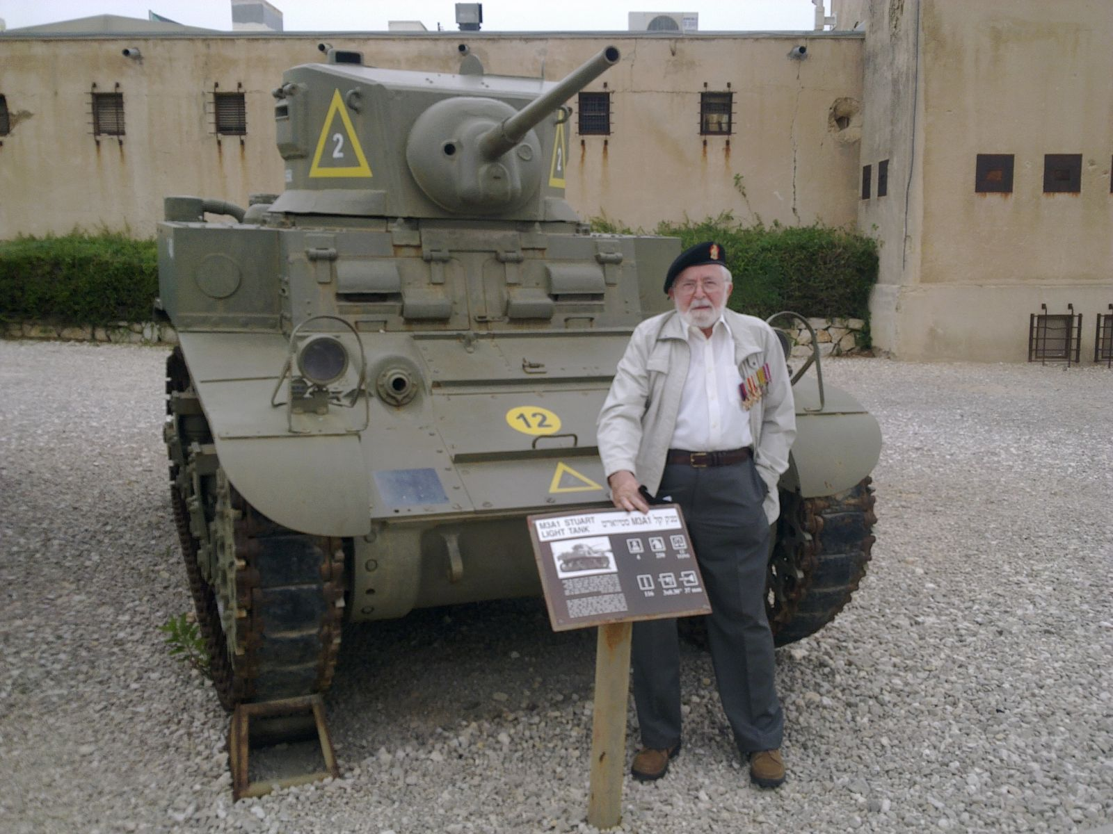 "Ron In front of Stuart ""Honey"" tank"