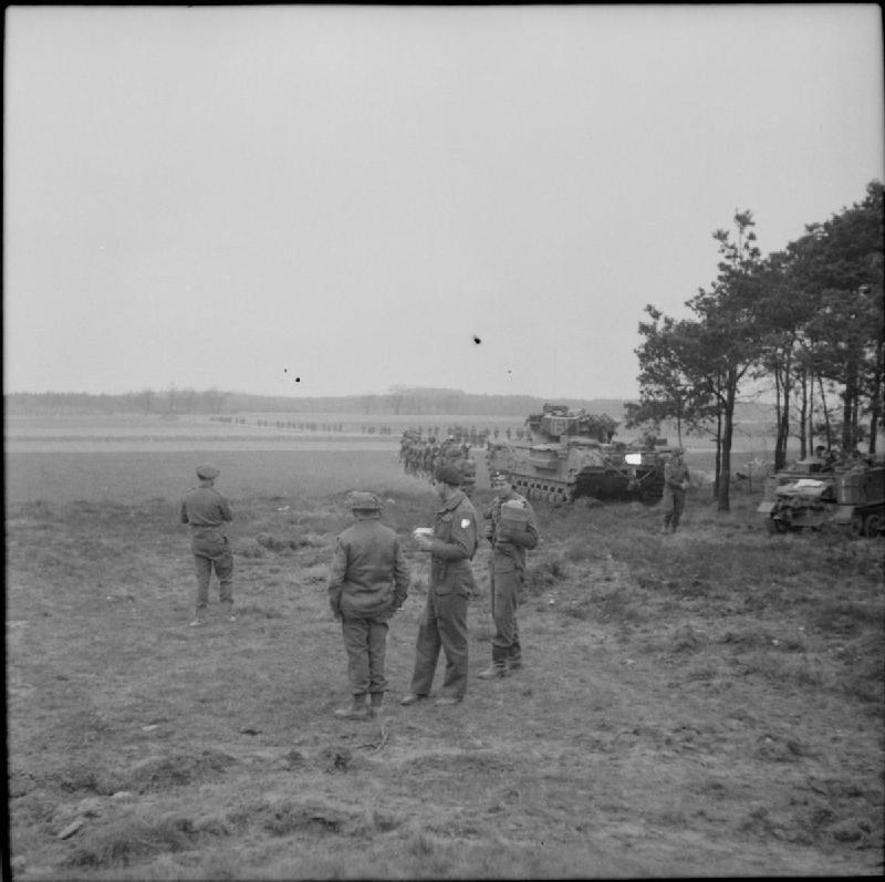 Royal Scots Fusiliers supported by Churchill tanks of the 3rd Scots Guards, Uelzen, 16 April 1945; IWM BU 3919