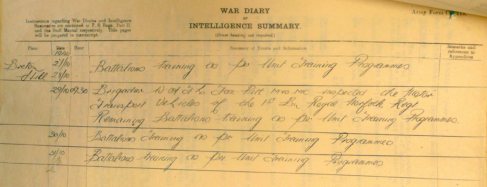 September & October 1940 War Diary, 20 Guards Brigade, Headquarters