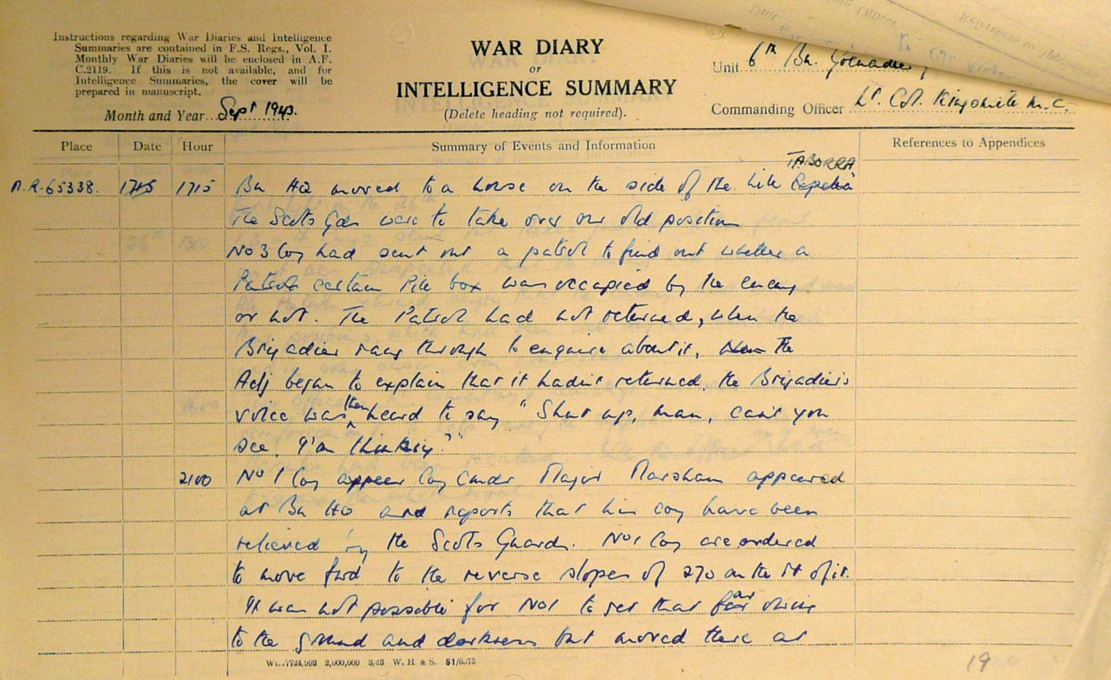 September War Diary, 6th Motor Battalion Grenadier Guards, 1943